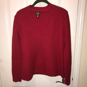 Eileen Fisher Red merino Italian wool sweater PM